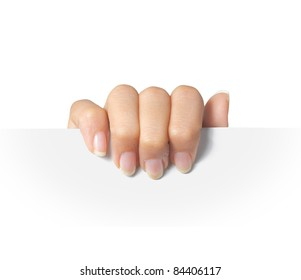 Advertising. hand hold on a paper ready for your design