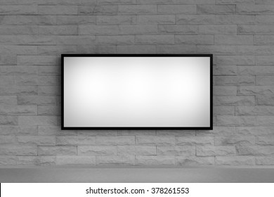 advertising light box on stone wall for background and clipping path
