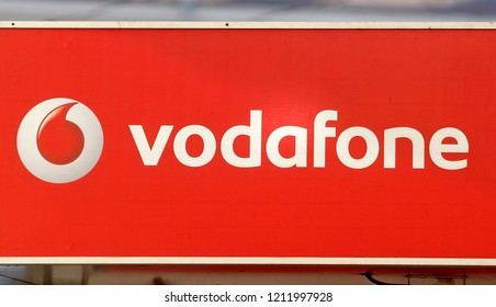 advertising with a logo of Vodafone Group, British multinational telecommunications company on a street in Kiev, Ukraine, on 18 October 2018.