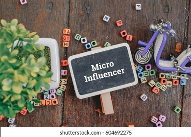 Advertising and marketing concept image, word MICRO INFLUENCER over top view flat lay signage and artificial green plant on wooden background