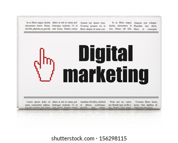 Advertising news concept: newspaper headline Digital Marketing and Mouse Cursor icon on White background, 3d render