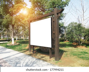 Advertising panel in sunny park