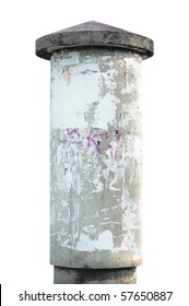 Advertising pillar, weathered aged grunge light grey concrete ad pole, isolated empty blank copyspace, rustic background
