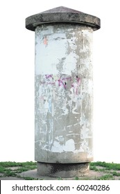 Advertising pillar, weathered aged grunge light grey concrete ad pole on grass, isolated empty blank copyspace, rustic background