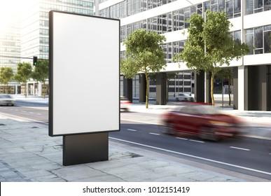 advertising poster on street 3d rendering