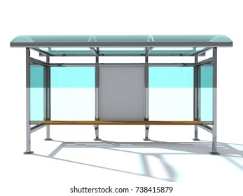 Advertising space mock up. A bus stop made of glass and metal with a bench for sitting. Blank poster on the wall of the bus stop. 3D rendering.