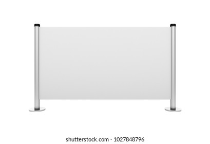 Advertising stand board banner template, sign board mockup, advertisement signboard presentation with identity brand example design, modern billboard 3d illustration.