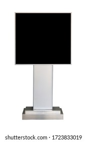 advertising stand board with black screen isolated on white background