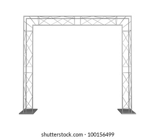 Advertizing design from metal trusses. Isolated on a white background.