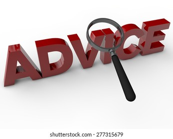 Advice - 3D Text with magnifier over white Background