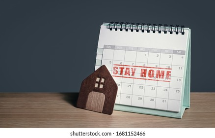 advice and alert on staying at home during social distancing. planning routine schedules of working or learning from home on a calendar to defense and avoid coronavirus infection. background for text.