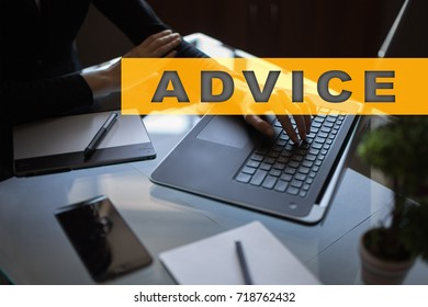 Advice text on virtual screen. Business technology and internet concept.