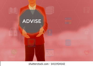 ADVISE - business concept presented by businessman