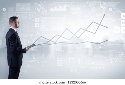 Adviser standing and presenting economical results of a global company
