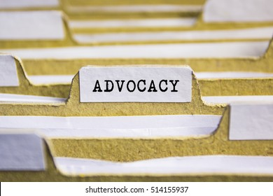 ADVOCACY word on card index paper