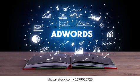 ADWORDS inscription coming out from an open book, business concept
