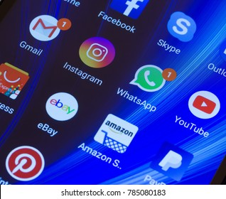 Adygea, Russia - January 2, 2018: WhatsApp, YouTube, instagram, Facebook, Skype and other app icons on the smartphone screen Xiaomi