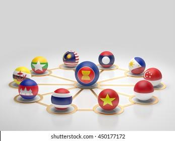 AEC, Asean Economic Community flag symbols.3d rendering.