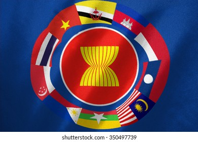 AEC flag and all of country in Asian flag