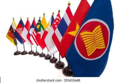AEC, Ten countries flags in the ASEAN region.