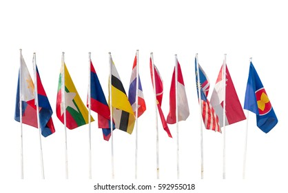 AEC, Ten countries flags in the ASEAN region isolated on white background