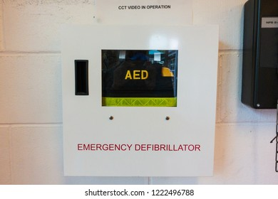 AED (Automated Extenal Defibrillator) - Heart defibrillator hanging on the wall in international school or office location for prepared to provide life-saving