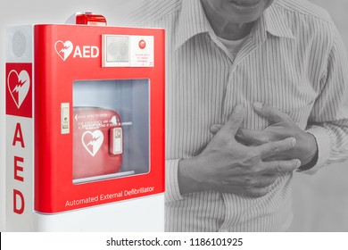 AED or Automated External Defibrillator first aid device for help people stroke or heart attack in public space