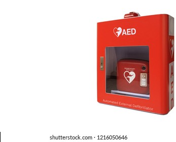 AED box or Automated External Defibrillator medical first aid device isolated on white background -  It is portable electronic device that automatically diagnoses the life-threatening cardiac arrest