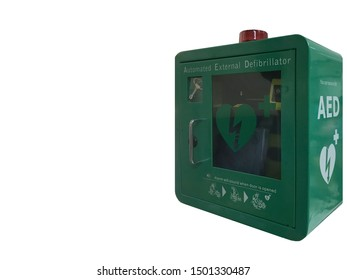 AED Emergency defibrillator, AED box or Automated External Defibrillator medical first aid device isolated on white background