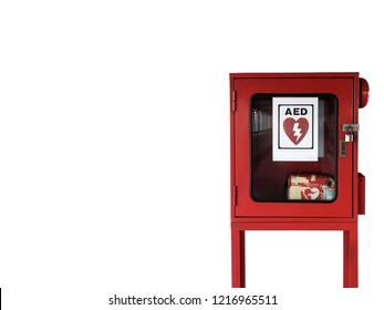 AED - Heart defibrillator in public location for prepared to provide life-saving cardiopulmonary resuscitation.Automated external defibrillator Cabinet with Clipping path.Isolated on white background.