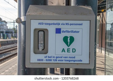 AED At The Train Station Of Apeldoorn The Netherlands 2018