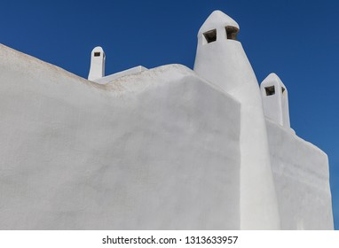 Aegean Chimneys Isolated.  Cyclades Islands Architecture