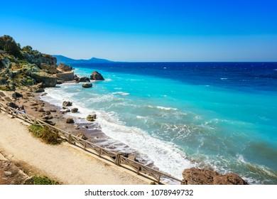 Aegean coastline of city of Rhodes (Rhodes, Greece)