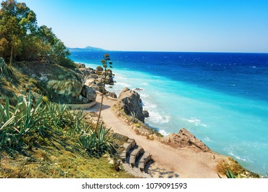 Aegean coastline of city of Rhodes (Rhodes, Greece)