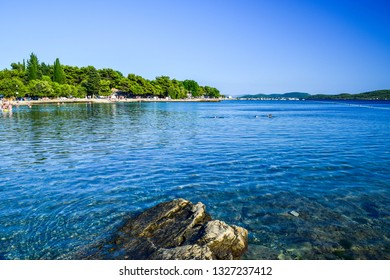 Aegean Sea and beaches in Vodice, Croatia.
