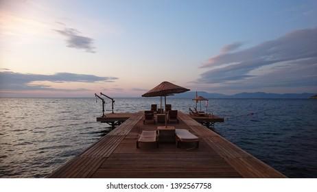 Aegean Sea at dusk of turkey