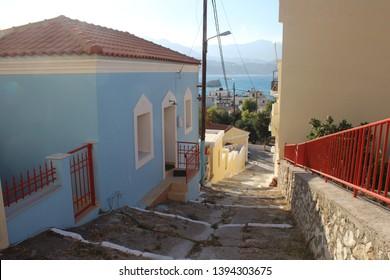 aegean sea karpathos greek street view pigadia