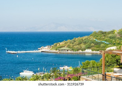 Aegean sea landscape with deck and hill