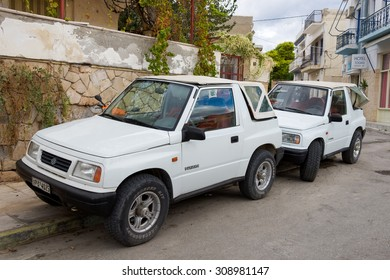 Aegina, Greece - September 27, 2014: Retro car in the island of Aegina, Greece. Suzuki - the Japan automaker, one of the largest in the world.
