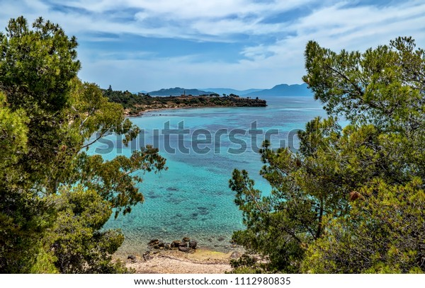 Aegina Island Coast - View towards Kolona Beach and Ancient Aegina