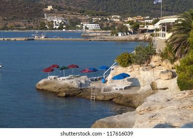 Aegina island at the mediterranean sea in Greece. Agia Marina village.