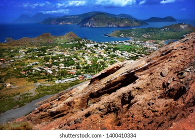 Aeolian islands (Lipari islands) seen from volcano slope on Vulcano island, Sicily, Italy