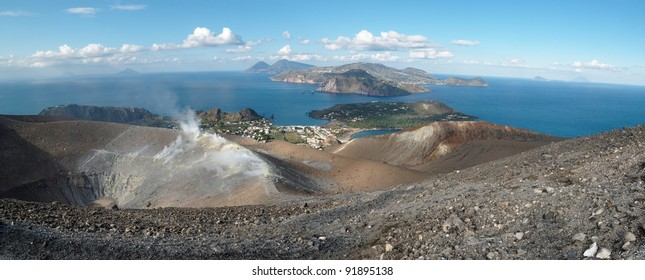 Aeolian islands seen from the Grand crater of Vulcano island near Sicily, Italy