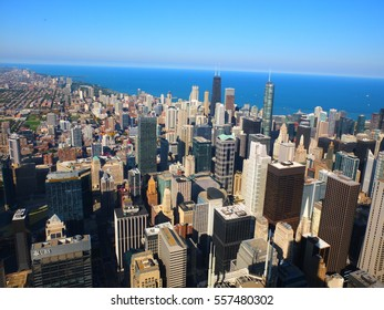 Aeral view of Chicago dowtown from high above, USA