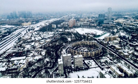 Aeral view of the city of Moscow and old ring building in the winter