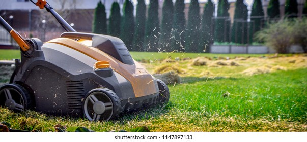 Aeration of the lawn in the garden. Yellow aerator on green grass