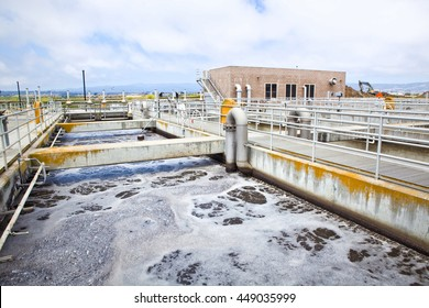 Aeration stage at a wastewater treatment plant, active bubbling to the water's surface