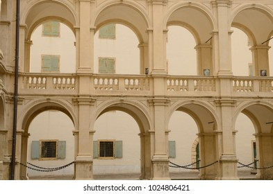 """Aercade in the courtyard of the renaissance building """"Landhaus"""", the seat of the state parliament of Styria in Graz, Austria."""