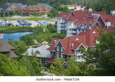 Aereal view of Blue Mountain resort and village during the summer in Collingwood, Ontario
