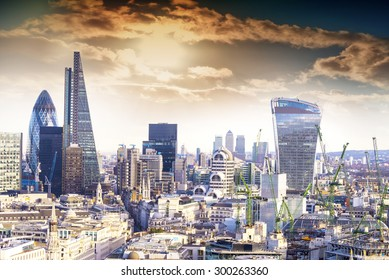 Aereal view of London modern district.